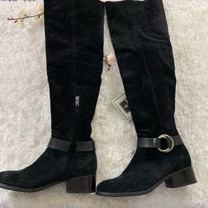 Frye Shoes - Frye Kristen OTK Boots Harness Suede Black